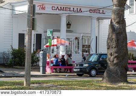 New Orleans, La - April 6: People Dining Outside The Camellia Grill On Carrollton Avenue On April 6,