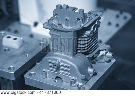 The Aluminum Die Casting Cylinder Block Production Processing. The Automotive Parts Manufacturing Pr