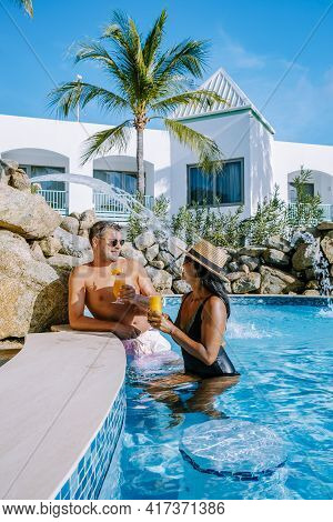 Palm Beach Aruba Caribbean, White Long Sandy Beach With Palm Trees At Aruba Antilles, Couple Man And