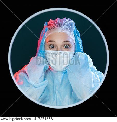 Scared Doctor. Medical Error. Panic Anxiety. Headshot Portrait Of Frightened Shocked Female Surgeon