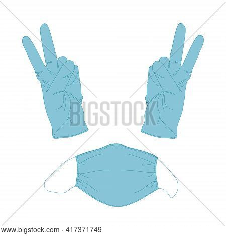 Medical Mask And Gloves Sign Of Victory. Cartoon Vector Illustration Isolated On White Background. T