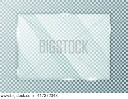 Glass Plate On Transparent Background. Acrylic And Glass Texture With Glares And Light. Realistic Tr