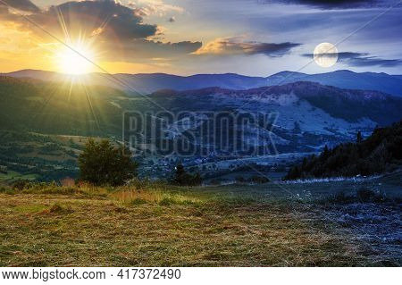 Day And Night Time Change Above The Mountainous Rural Landscape. Grassy Meadow On Top Of A Hill. Clo