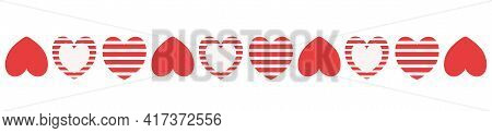 Decorative Divider Red Hearts Line For Design And Decorations Border Frame Invitation Cover Card.