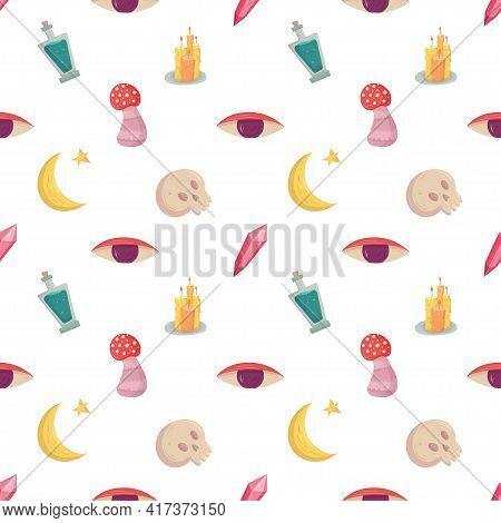 Witch Seamless Pattern With Esoteric Mystic Elements. Witchcraft Supply - Mushroom, Eye, Candle And