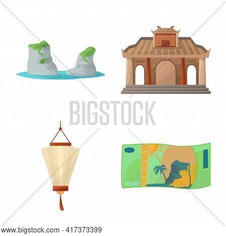 Vector Illustration Of Vietnam And Traditional Logo. Collection Of Vietnam And Asia Stock Symbol For