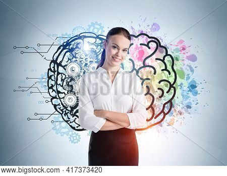 Young Smiling Office Woman Arms Crossed Standing Near Drawing With Brain, Colours And Gears On Blue