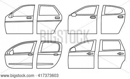 Car Door Vector Outline Set Icon. Outline Set Icon Auto Equipment. Vector Illustration Car Door On W