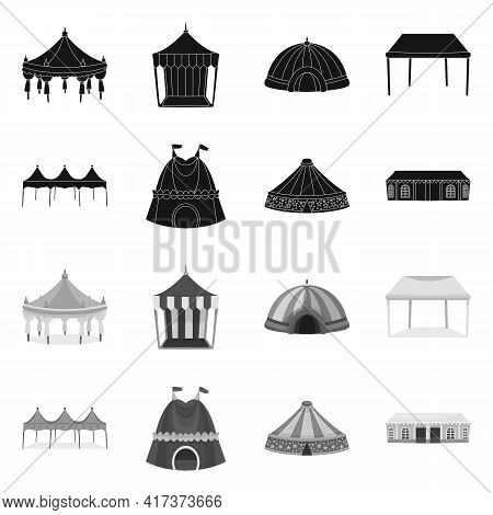 Vector Illustration Of Roof And Folding Sign. Collection Of Roof And Architecture Vector Icon For St