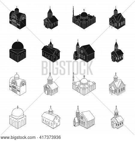 Vector Design Of Temple And Historic Symbol. Collection Of Temple And Faith Stock Symbol For Web.