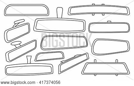 Rear View Mirrors Isolated Outline Set Icon. Vector Outline Set Icon Rearview . Vector Illustration