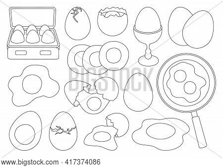 Chicken Egg Vector Outline Set Icon. Vector Illustration Farm Poultry On White Background . Isolated