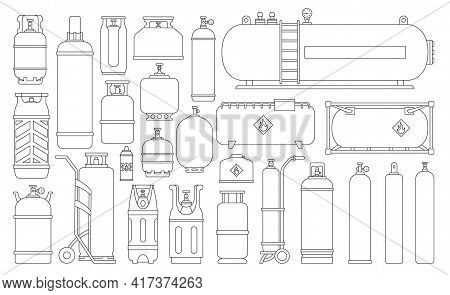 Gas Cylinder Vector Outline Set Icon. Vector Illustration Ipg Container On White Background. Isolate