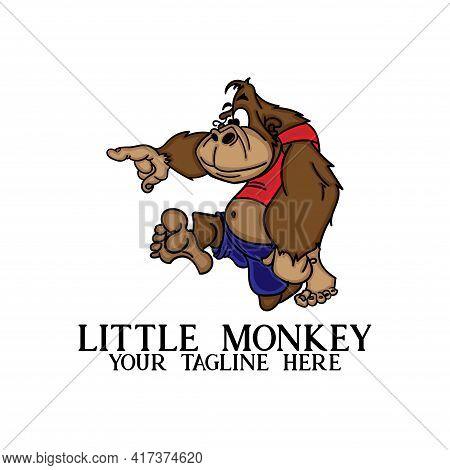 Monkey Design Illustration Vector. Little Monkey Cartoon Mascot Logo.