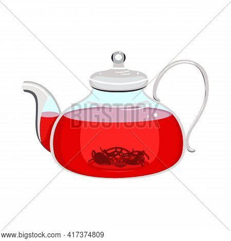 Vector Illustration Of Teapot And Hibiscus Icon. Web Element Of Teapot And Tea Stock Vector Illustra