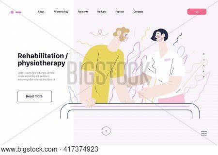 Medical Insurance Illustration - Rehabilitation And Physiotherapy. Flat Vector