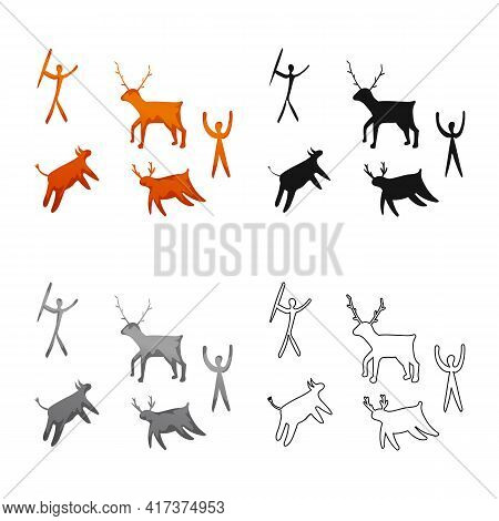 Vector Design Of Prehistoric And Painting Icon. Set Of Prehistoric And Bird Stock Vector Illustratio