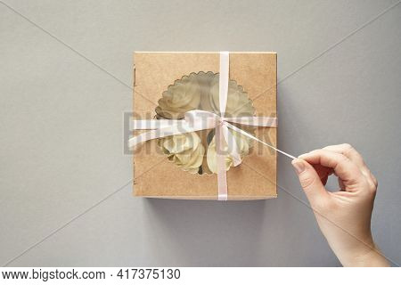 Paper Box With Cream Cupcake. Birthday Sweet Bakery. Cookies Four Pack. Yummy Buttercream Dessert. W