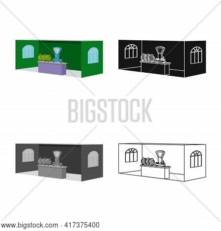 Vector Illustration Of Stall And Booth Logo. Collection Of Stall And Business Stock Symbol For Web.