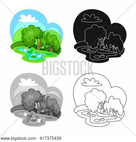 Vector Illustration Of Wetland And Grass Sign. Collection Of Wetland And Green Vector Icon For Stock