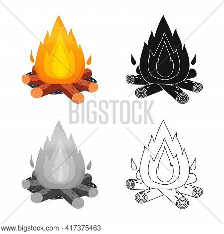 Vector Design Of Bonfire And Fire Sign. Collection Of Bonfire And Flame Vector Icon For Stock.