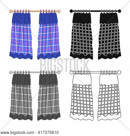 Vector Design Of Drapes And Blue Sign. Collection Of Drapes And Frill Stock Vector Illustration.