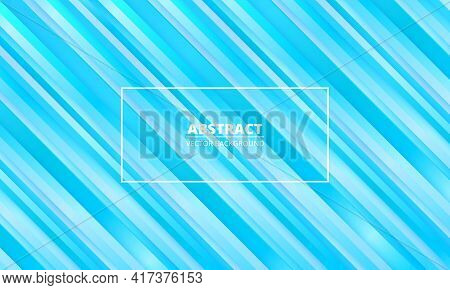 Abstract Striped Metallic Blue Vector Background With Blue And White Three Dimensional Lines And Fra