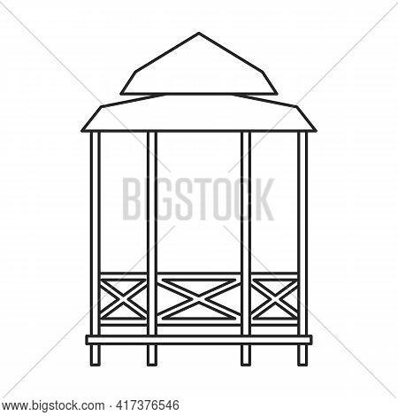 Gazebo Wooden Vector Outline Icon. Vector Illustration Gazebo Wooden On White Background. Isolated O