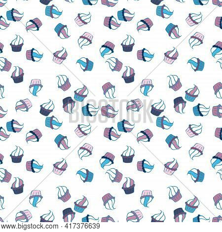 Seamless Delicious Cupcakes And Muffins Vector Cartoon On Neutral, White And Blue. Chocolate Birthda
