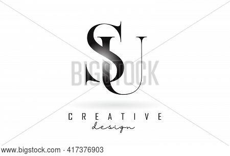 Su S U Letter Design Logo Logotype Concept With Serif Font And Elegant Style. Vector Illustration Ic