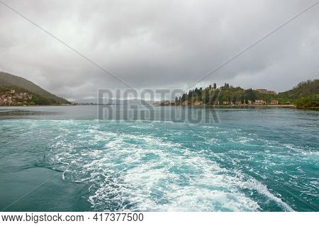 Cloudy Spring Day. Beautiful Mediterranean Landscape. Montenegro, Adriatic Sea. View Of  Bay Of Koto
