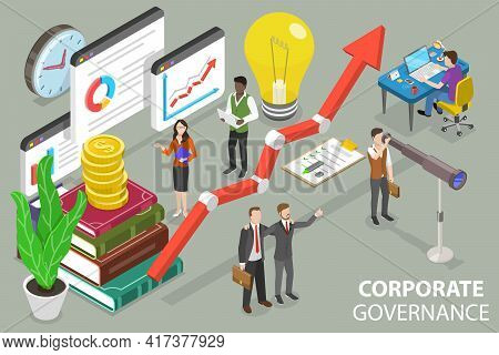 3d Isometric Flat Vector Conceptual Illustration Of Corporate Governance.