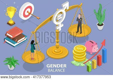 3d Isometric Flat Vector Conceptual Illustration Of Gender Balance.