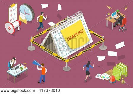 3d Isometric Flat Vector Conceptual Illustration Of Working Overtime At Deadline.