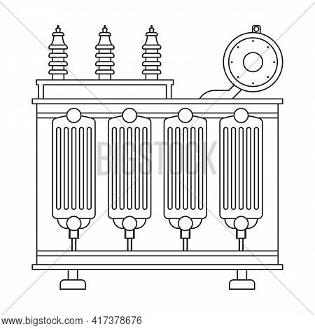 Transformer Electric Vector Outline Icon. Vector Illustration Elctric Station On White Background. I