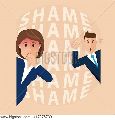 Woman Is Terribly Ashamed, Gossip At Work, Rumors Between Colleagues. Modern Vector Illustration In