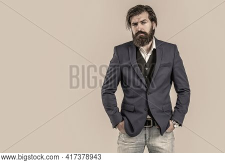 Elegant Handsome Man In Suit. Man In Suit. Male Beard And Mustache. Handsome Bearded Businessman In