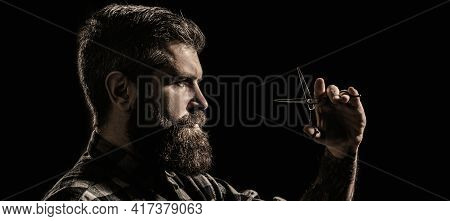 Vintage Barbershop, Shaving. Bearded Man, Long Beard, Brutal, With Moustache, Haircut. Barber Scisso