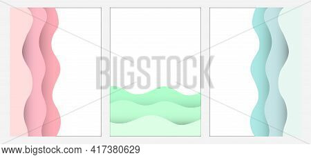 Set Abstract Vector Wave Frame With Shadow, Papercut Style, Isolated Illustration Blue, Pink, Green,