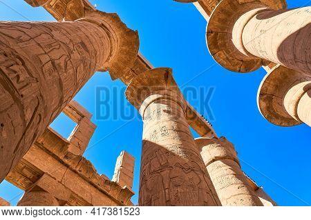 Luxor, Egypt - January 30, 2021 - Detail Of The Karnak Temple. Massive Columns Inside Beautiful Egyp