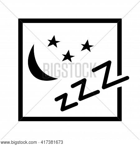 Black And White Icon Symbol Of Sleep And Silence. Night, Moon And Stars. Vector Isolated Illustratio
