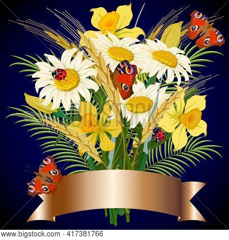 Bouquet Of Flowers And Butterflies In The Illustration.chamomiles, Daffodils, Spikelets And Butterfl