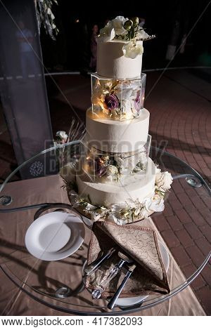 Beautiful Tiered Delicious Dessert Sweet Cake For The Holiday. Selective Focus