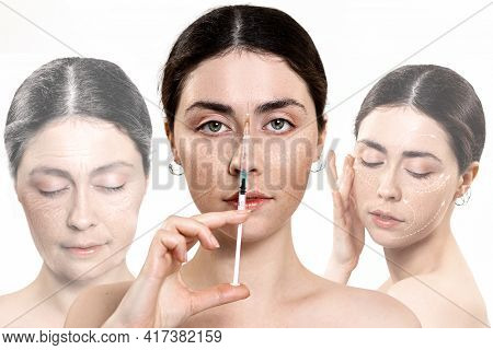 Portrait Of A Beautiful Woman Holding A Syringe With An Injection Near Her Face.in The Background, T