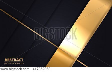 Black And Gold Luxury Abstract Background. Dark Modern Royal Banner With Golden Luminous Lines. Abst