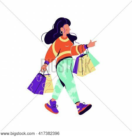 Brunette Woman With Shopping Bags Walking Isolated On White