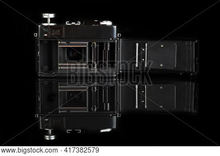 Moscow, Russia, April 18, 2021. The Old Soviet Rangefinder Automatic Film Camera Electra 122, Releas