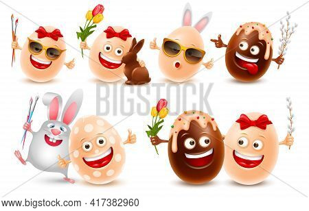 Easter Eggs Vector Realistic Character Set. Cute Smiling Eggs With Brushes, Flowers, Pussy Willow Tw