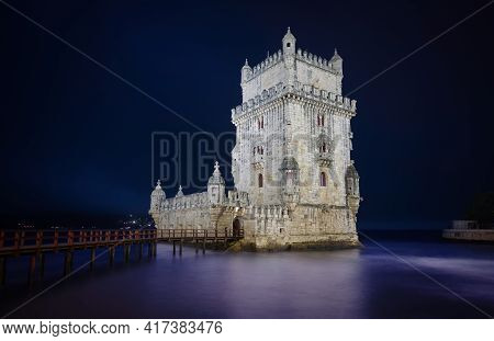 Photo Of The Belem Tower In Lisbon Portugal At The Blue Hour Time