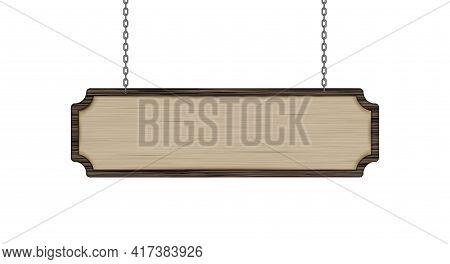 Hanging Light Brown Wood Sign. 3d Vector Illustration